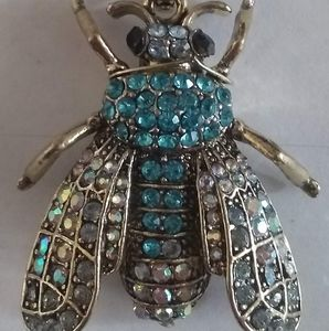 Betsey Johnson Blue Jewelled Fly Necklace Pendant